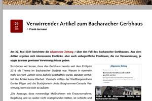 Verwirrender Artikel zum Bacharacher Gerbhaus