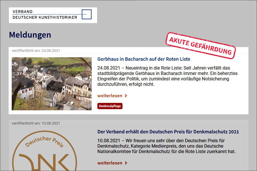 Aufnahme des Bacharacher Gerbhauses in die Rote Liste des Verbands Deutscher Kunsthistoriker
