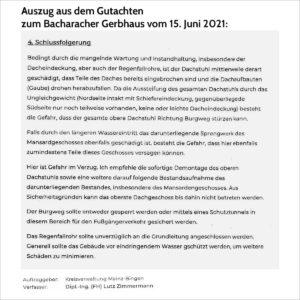 Bacharacher Gerbhaus: Auszug aus dem Gutachten vom 15.6.2021