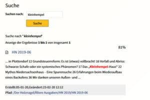 """Suche nach """"Kleinhempel"""" auf der IgB-Website"""