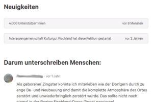Die Petition auf change.org läuft heute (18. Mai 2021) bereits seit zwei Jahren!