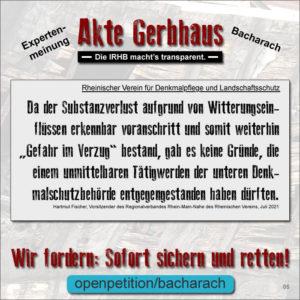 Akte Gerbhaus: Beurteilung durch den Rheinischen Verein (Hartmut Fischer)