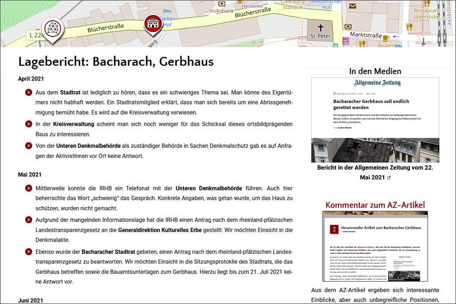 Gerbhaus Bacharach: Lagebericht