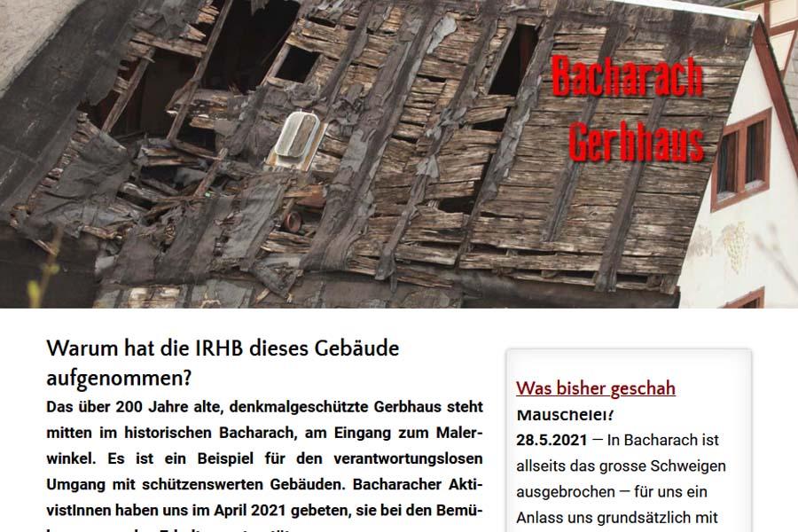 Bacharacher Gerbhaus: Eintrag in der IRHB-Liste