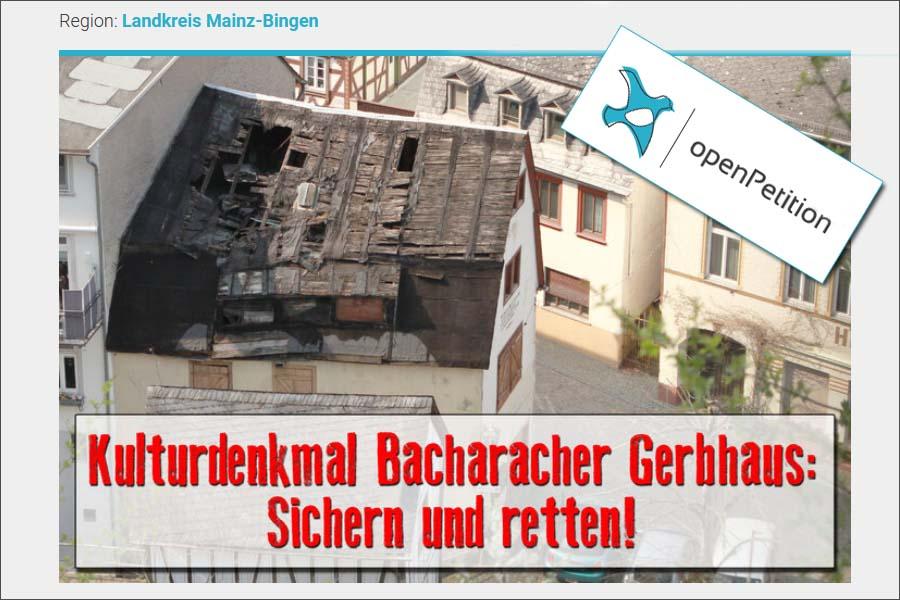 Bacharacher Gerbhaus: Petition