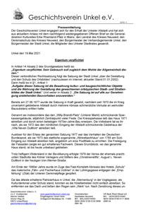 Geschichteverein Unkel: offener Brief