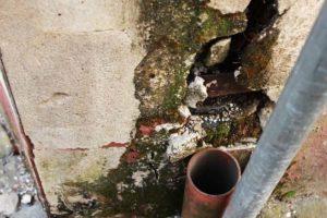 Bacharacher Gerbhaus: fehlendes Fallrohr und Schaden