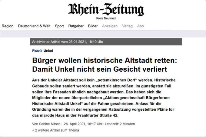 Bericht in der Rhein-Zeitung vom 26. April 2021